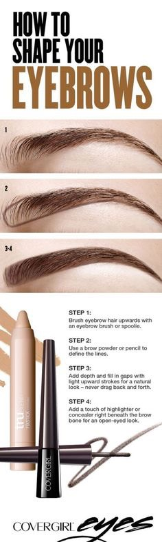 Shape your eyebrows  Filling in your eyebrows doesn't have To be a lengthy process. Keep it simple by using a brow powder or pencil To define a bottom line, And then smudge upwards And blend.