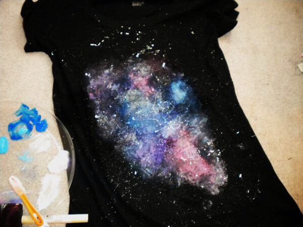 5. Let your shirt dry. Once it dries, you may find you want to add more paint. I added more color and glitter to mine once it dried.