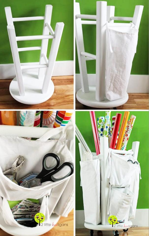 Wooden Stool Into A Tool And Crafts Organizer  http://www.2littlehooligans.com/2012/06/08/fat-quarter-friday-wrapping-paper-organizer-tutorial/