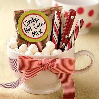 you can personize this too! for filling add hot cocoa mix, some marshmallows, a candy cane, amd peppermint bark!