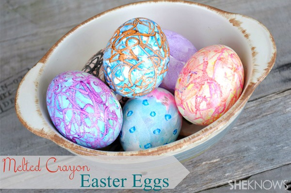 In looking for new and unique ways to create a little masterpiece on our eggs, my kids and I decided to use crayons instead of the traditional food coloring or store-bought dye kits. I have to tell you, the result was unexpectedly awesome!  Supplies: Eggs A colorful box of crayons