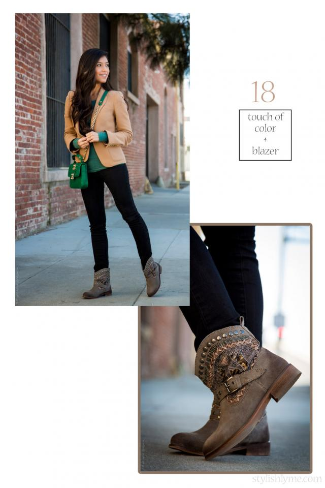 Embellished ankle booties with a touch of color  Embellished boots don't need much reinforcement when it comes to the outfit, these beauties are the center of this look. Taupe flat ankle boots paired with bright green and blazer make the perfect fall outfit combination.