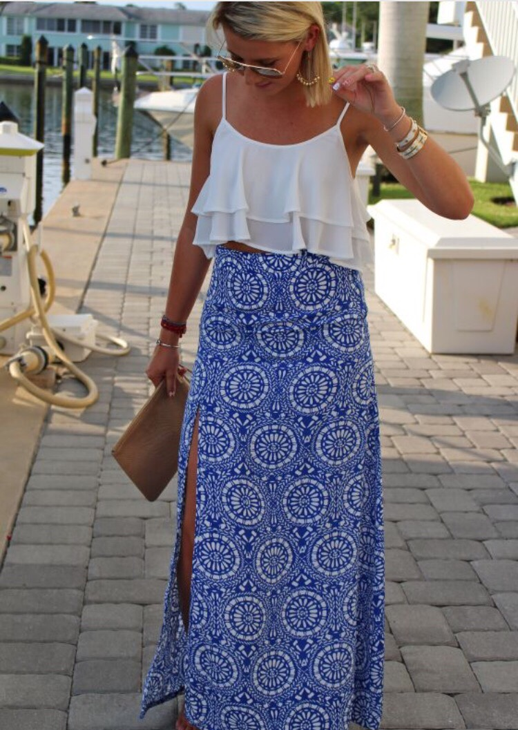 Try a maxi skirt with a cute crop top and cute accessories!