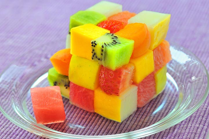 1. Fruit cube stack-up You will need: Fruit (as much as needed) That's it  What to do: 1. Wash and peel the fruit 2. Cut the fruit into small cubes 3. Stack up and Viola!