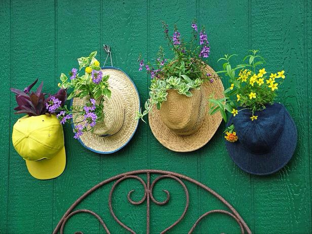 Give old hats new life as hanging gardens. Baseball hats make instant pot covers: Simply open the sizing tabs in back, slip the opening around the base of the plant and snap the tabs closed again. On straw, felt or fabric hats, cut a hole into the front or top and gently feed the plant stems thru it
