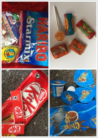 Firstly I gathered my 'ingridients' .. for the food and snacks i added: 🌸Haribo Starmix🍡 🌸Kit Kat🍩 🌸'loada sweets' selection pack from refreshers🍭 &&& 🌸choccy dips 🍫