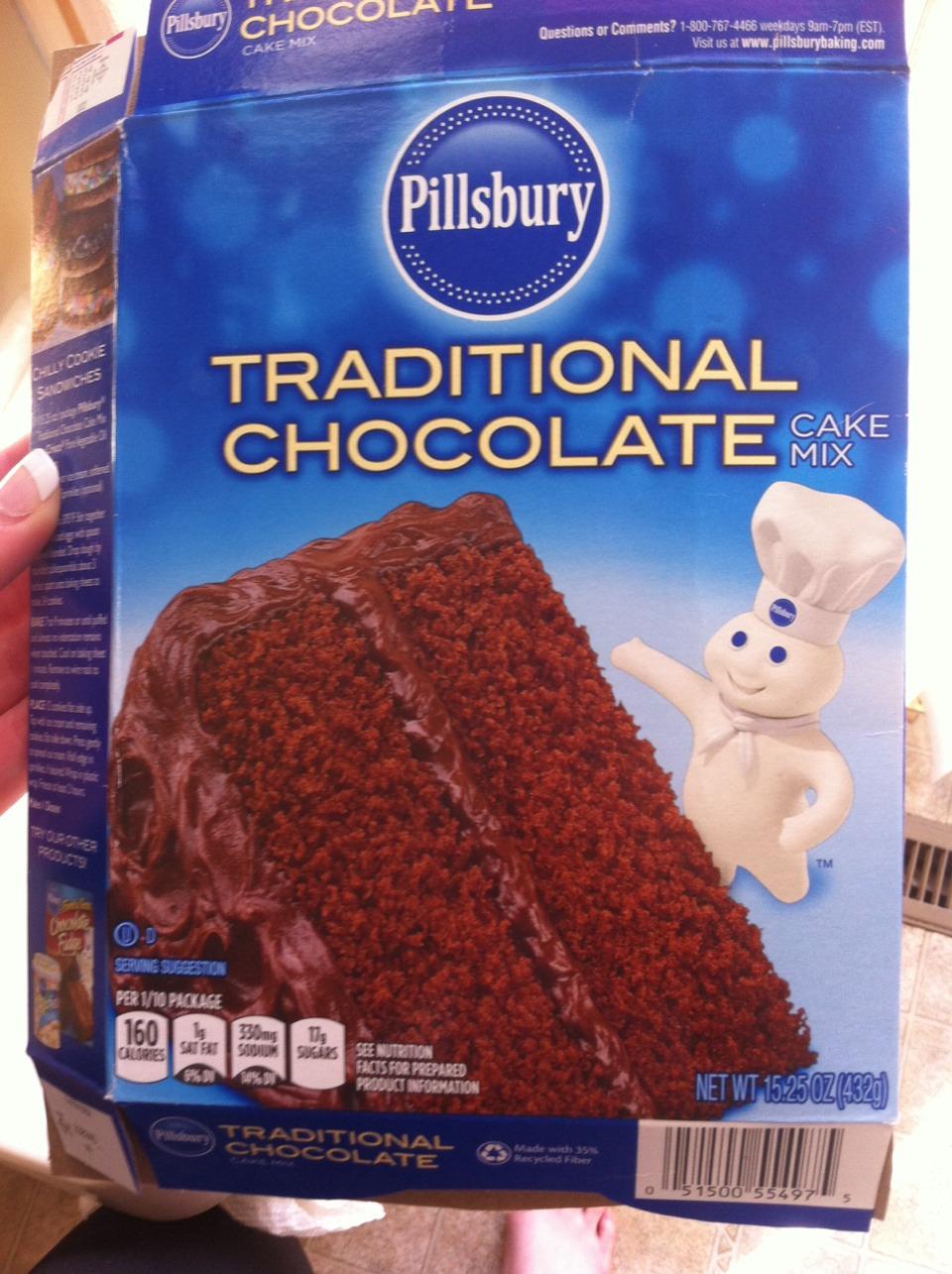 Any kind of cake mix, I used Pillsbury Traditional Chocolate cake mix