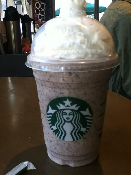 Cookies & Cream Frappuccino  The Secret:	 A Double Chocolate Chip Frap with white mocha sauce instead of the regular mocha sauce  How to Order:	Ask your barista for a Double Chocolate Chip Frappuccino with white mocha sauce instead of the regular mocha sauce that usually comes with it. Enjoy!