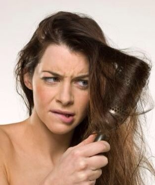 Brush your hair from ends to roots, gradually working your way upwards, this prevents hair from falling out.