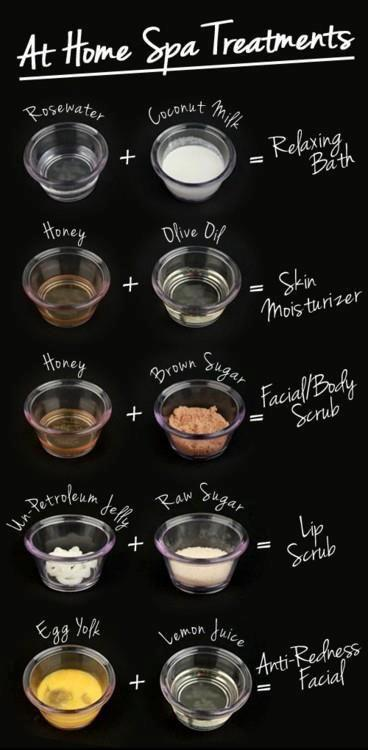 use these simple ingredients for all sorts of at home diy spa treatments =)