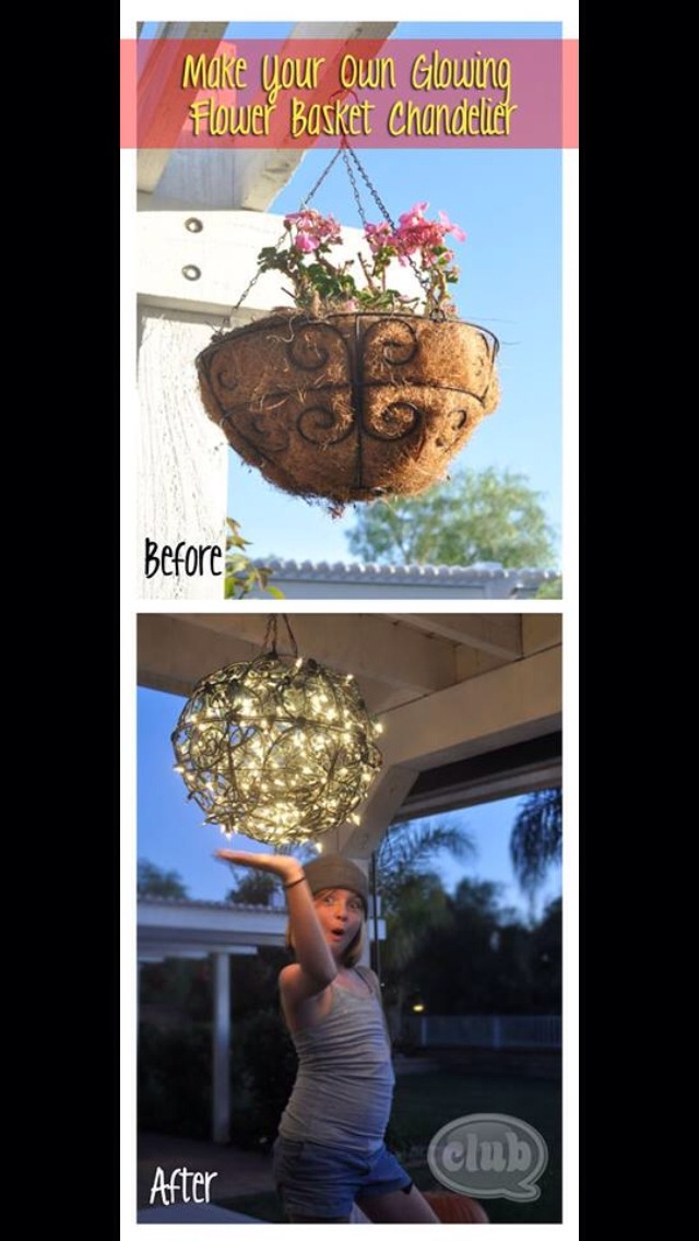 Wire 2 flower baskets together and add white lights to create a round chandelier