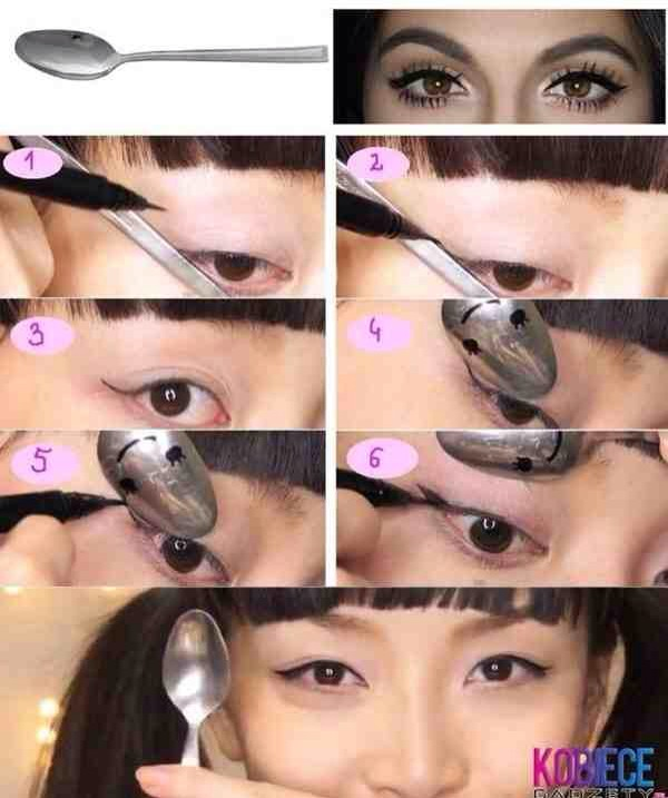13. The secret to perfect winged eyeliner isn't sticky tape, but a teaspoon: