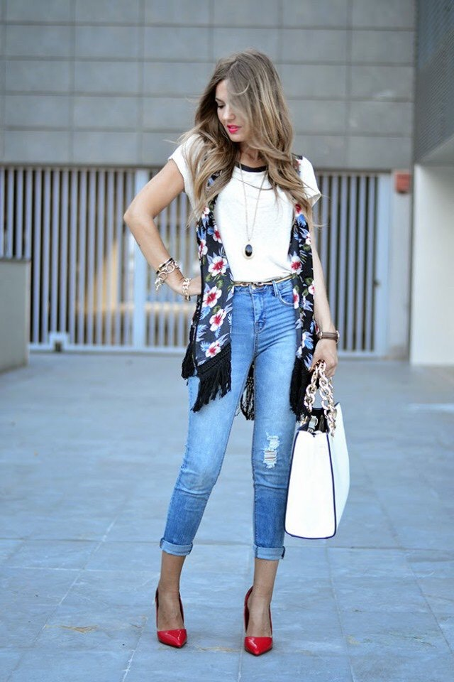 Floral Vest and White Tee