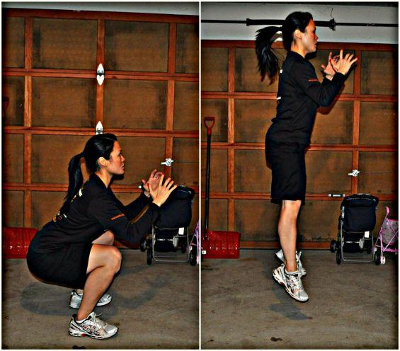Power squats resemble standard squats except that instead of easing in out of squat position you are jumping in and out of squat position.