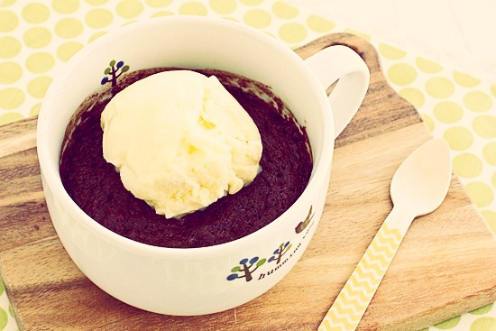 Delicious easy brownie in a mug! Fetch your fav mug and ingredients