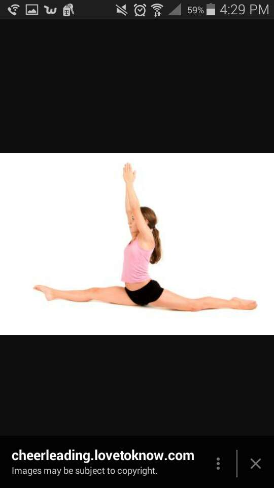 splits...over time if you do all of the streches in this tip, splits will be easy.Hold your self up if you can't go all the way down.If you can want a challenge place a few thick books under your foot to do a over split, streching your legs even more.Also you can lean forward or arch back