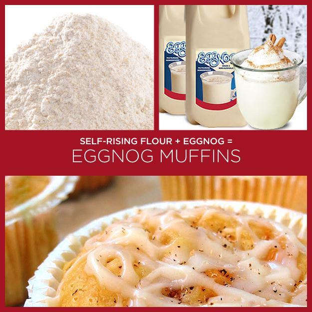 Self-Rising Flour + Eggnog = Eggnog Muffins