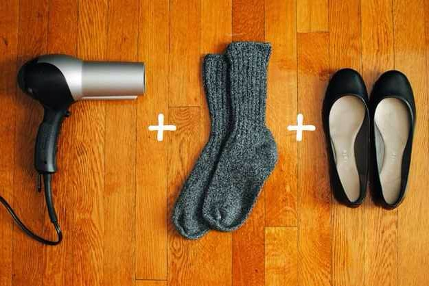 Wear the socks and flats and hairdry them!