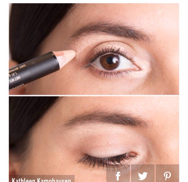 """6.  Use a concealer that's slightly lighter than your skin tone to line three sections of your eyes: the inner """"V,"""" the middle section of your eyelid, and just below your brow bone."""