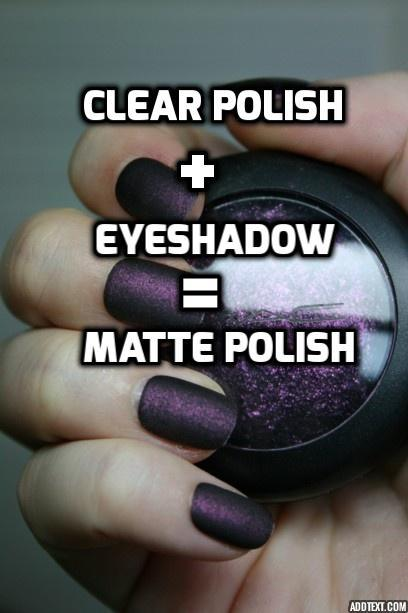 Clear polish + eyeshadow = matte polish. For all those broken eyeshadows - Hmm! You learn something new every day!