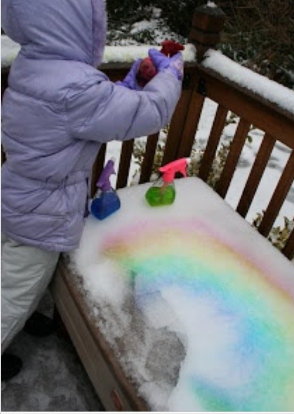 Put food coloring in spray bottles to color in the snow.