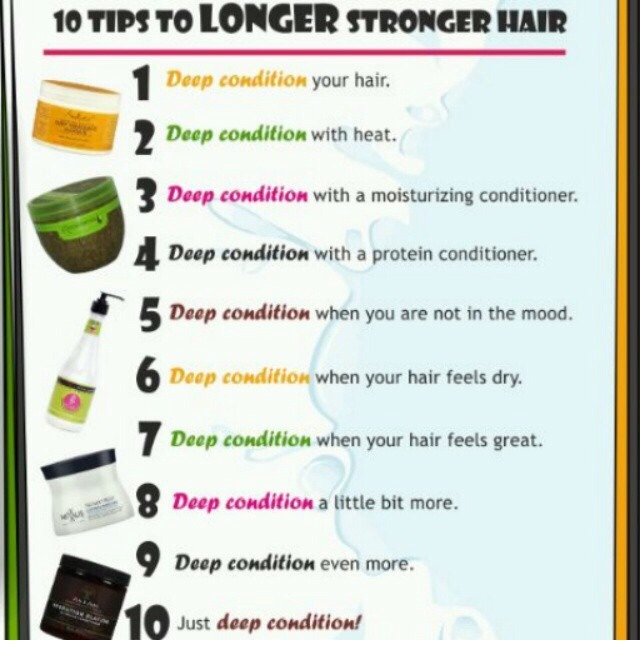 For all my natural hair ladies theses are ten great tips for longer stronger hair  DEEP CONDITION is key