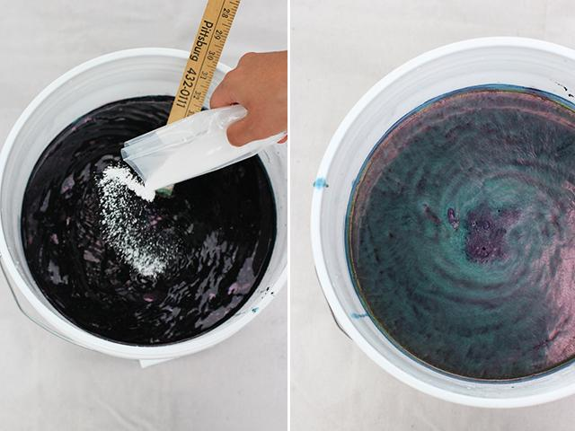 Then pour in the soda ash and reduction agent. Stir again in a circular motion and then in reverse. It is important not to oxidize the dye bath so keeping it covered and stirring it gently is recommended.