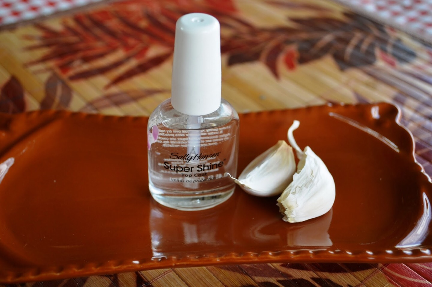 "Just take a clove of garlic nd rub it throughly on your nail. You can even get ""nail hardening with garlic"" it is available in most online stores (; x"