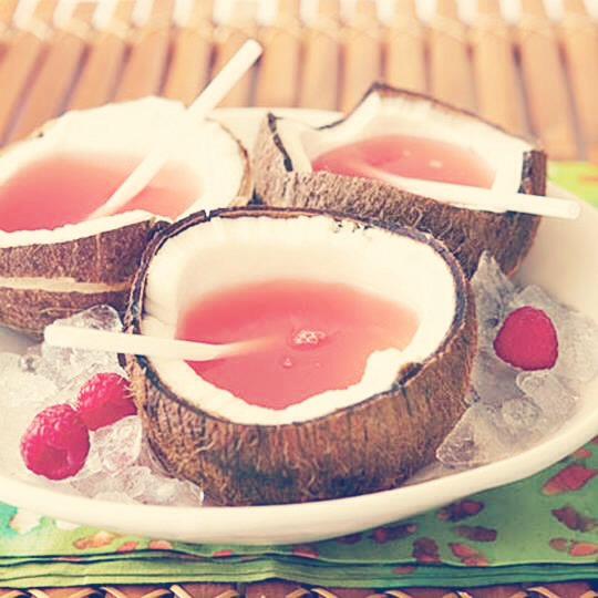 PINK BIKINI COCKTAIL 1 Coconut 1 part Coconut Rum 1 part Amaretto 1 part Raspberry Lemonade ENJOY!!!