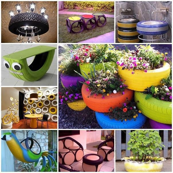Recycle your old tires in to something beautiful! Who said recycling has to be boring? Not us! Here are some great recycling ideas for those old tires lying around your garage. Tires are tough and durable put can be painted in to funky colors to look awesome!  So put your thinking cap
