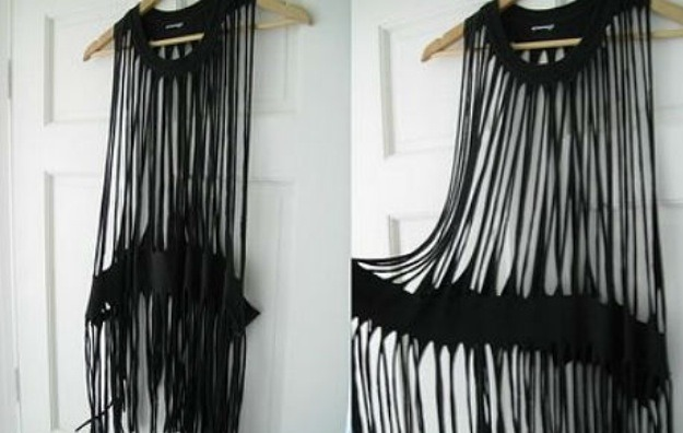 For this top you want to start cutting from underneath the collar until you hit the band and then go from underneath the band and cut the rest of the strands out...