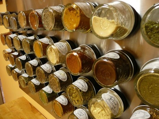 Creative way to save space and have all your spices in one place.