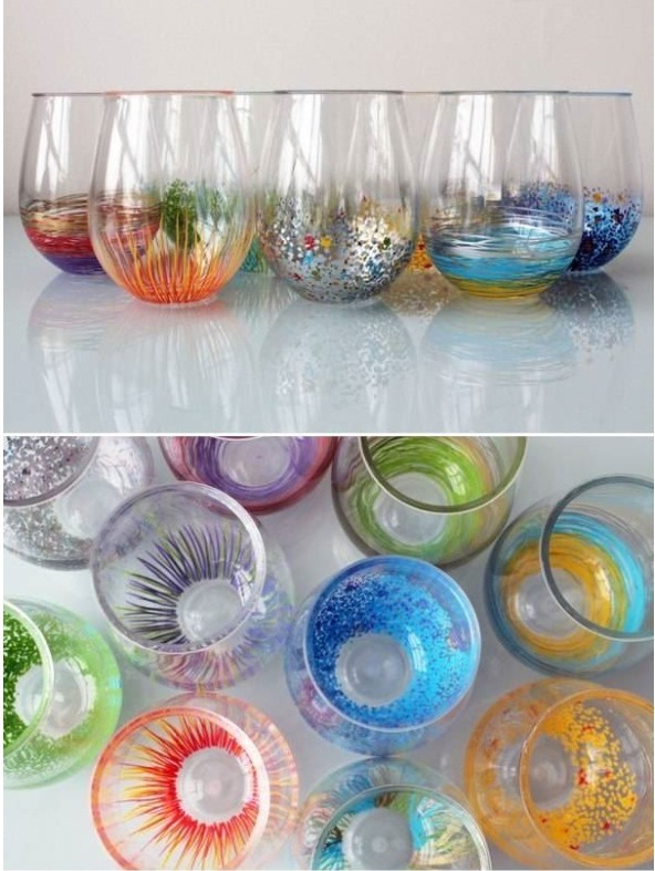 To make these creative and bright glasses all you need are some markers made to be written on glass and some creativity!