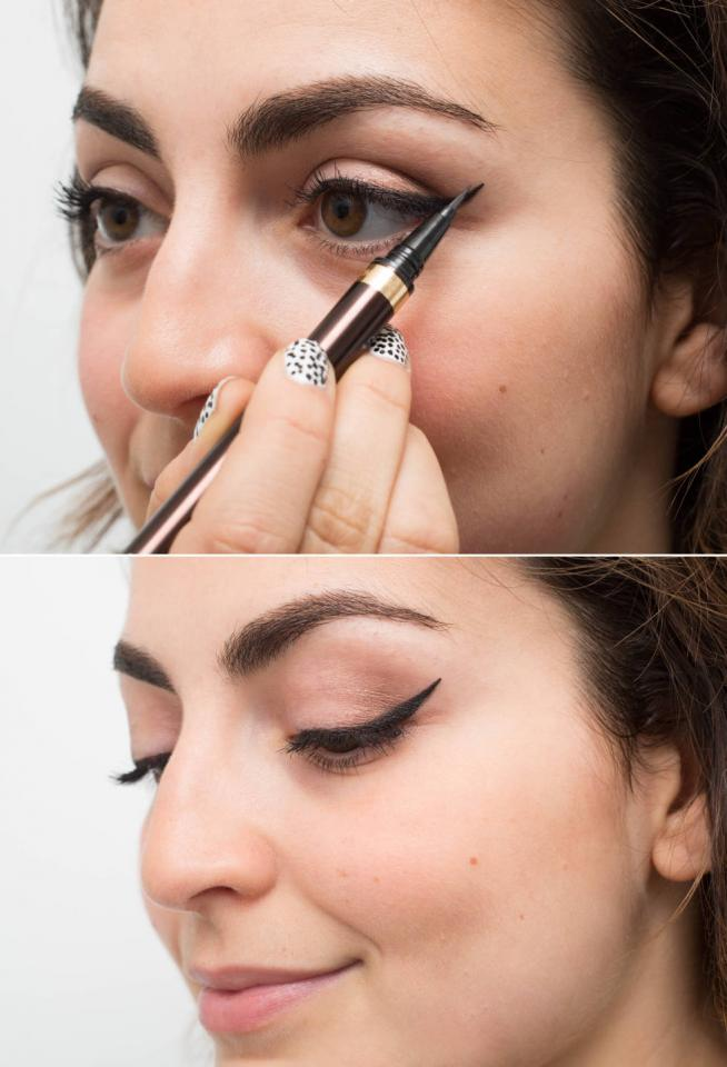 19. For a more precise angle of your winged liner, draw the flick toward your eye instead of away from it. Drawing in a backward direction will make it easier to determine where the end of the flick will be.