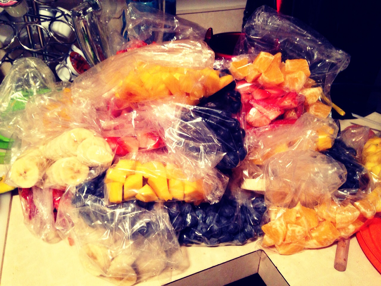 Cut, portion, and freeze fruit to use in place of ice when making smoothies.