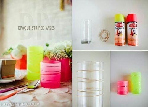 Sprouce up your cups with elastics and spray paint or glass frost.
