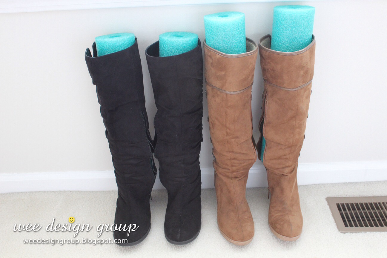 Then put your cut pool noodle inside your boot to help them stay up straight!