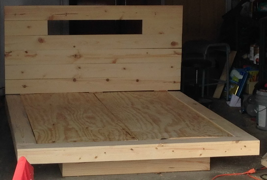 After the bed was fully assembled, it was sanded and prepped for wood stain.