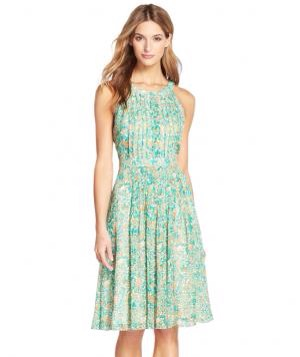 Adrianna Papell Floral Print Chiffon Pleated Fit & Flare Dress. Variegated pleats create a fit-and-flare silhouette that's flattering on all shapes, while the slimming halter neckline helps to balance the look. Try it with strappy gold sandals and loose waves.to Buy: $104, nordstrom.com