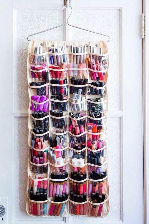 I LOVE SHOES BUT I ADORE MAKEUP!! Use your over the door shoe holder as an easy and cute makeup storage!