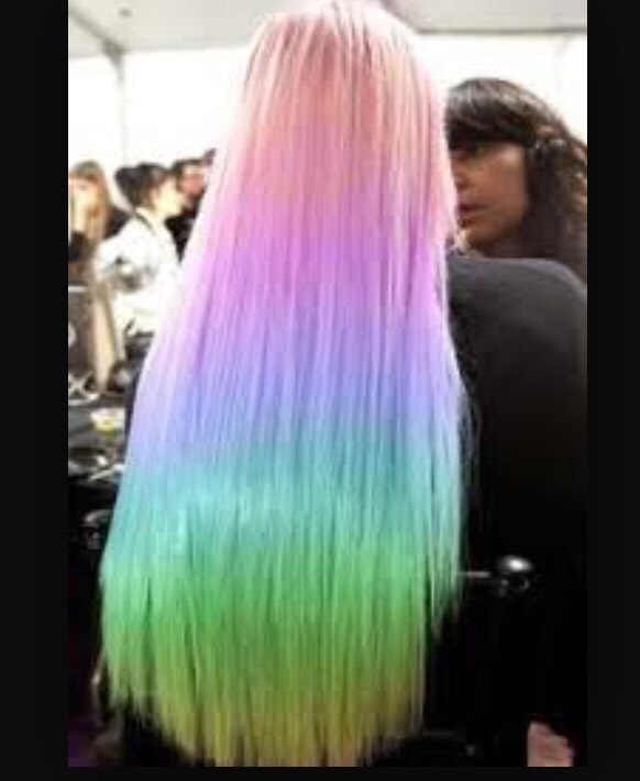 Pretty rainbow colored hair ombré style