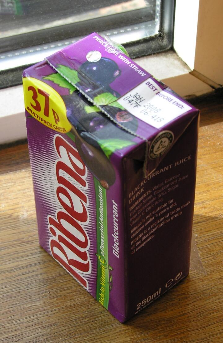 One carton of Ribena or blackcurrant cordial