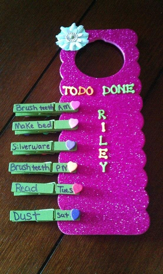 This is a great way to keep up with kid's chores!  <3