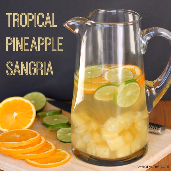 Ingredients: 750 ml Riesling or Moscato wine 15 oz. can pineapple in juice (not syrup) 1 large orange, sliced into circles 2 limes, sliced into circles ½ c. coconut rum seltzer or club soda, optional