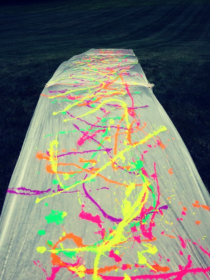 Great idea for the kids or fun day with the family! Put some paint on the slip & slide make it fun by wearing all white clothing & slide away!
