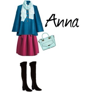 Princess Anna is know for both her grit and her spunk! She doesn't have a mean bone in her body, but a stubborn one? She has plenty! The color scheme of this autumn outfit was modeled after her dress while traveling up the mountain. I loved how this one turned out; super cute and put together!
