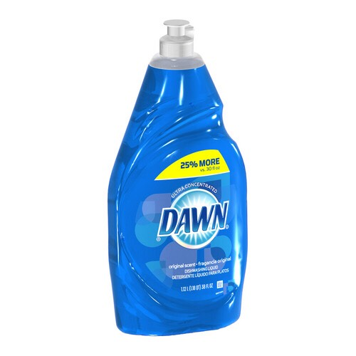And lastly, dish soap to make the solution stick to the weeds.