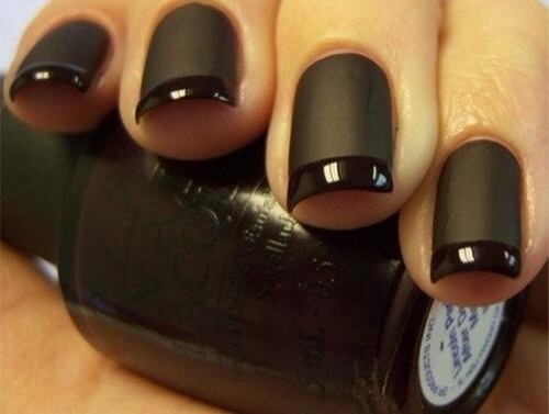 This design is really classy! Put black polish on, then matte top coat but use tape or anything to hide the tips of your nails! *Black is the color where it stands out more! Take advantage of that!