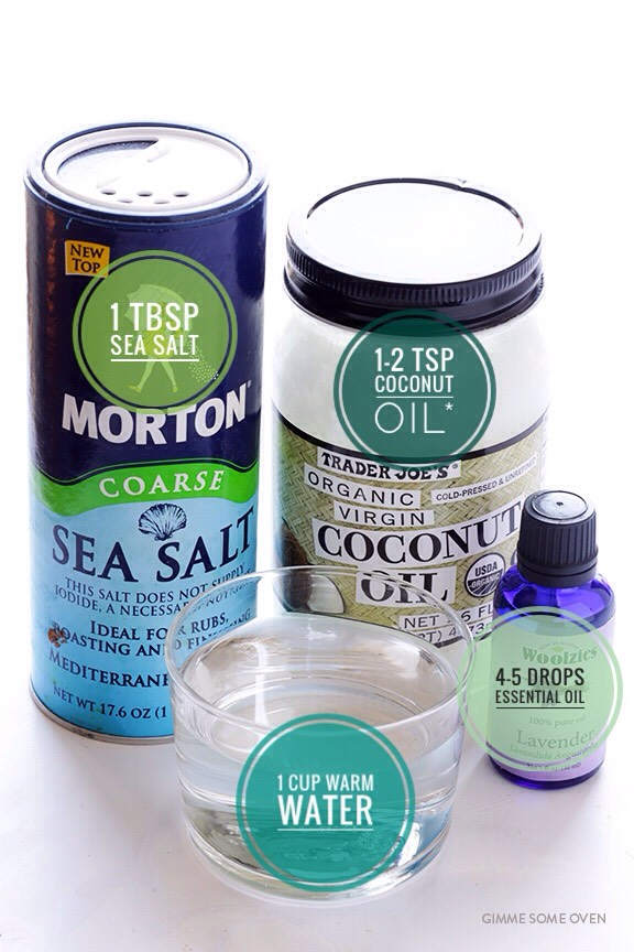 INGREDIENTS   (+)1 cup warm water (spraying) (+)1 tbsp sea salt (texturizing) (+)1-2 tsp olive oil,argan oil or coconut oil*(moisturizing) (+)4-5 drops essential oil (for smelling yummy — use your favoriteora mixture) (+) Spraybottle *Coconut oil's melting point =76*. Ifyou store it in a coolerplace, theoil will solidify. I'd recommend using olive or arganoilif that's the case. You can alsostore the jar on awindow sill or warm it up for a few seconds in a microwave before using.