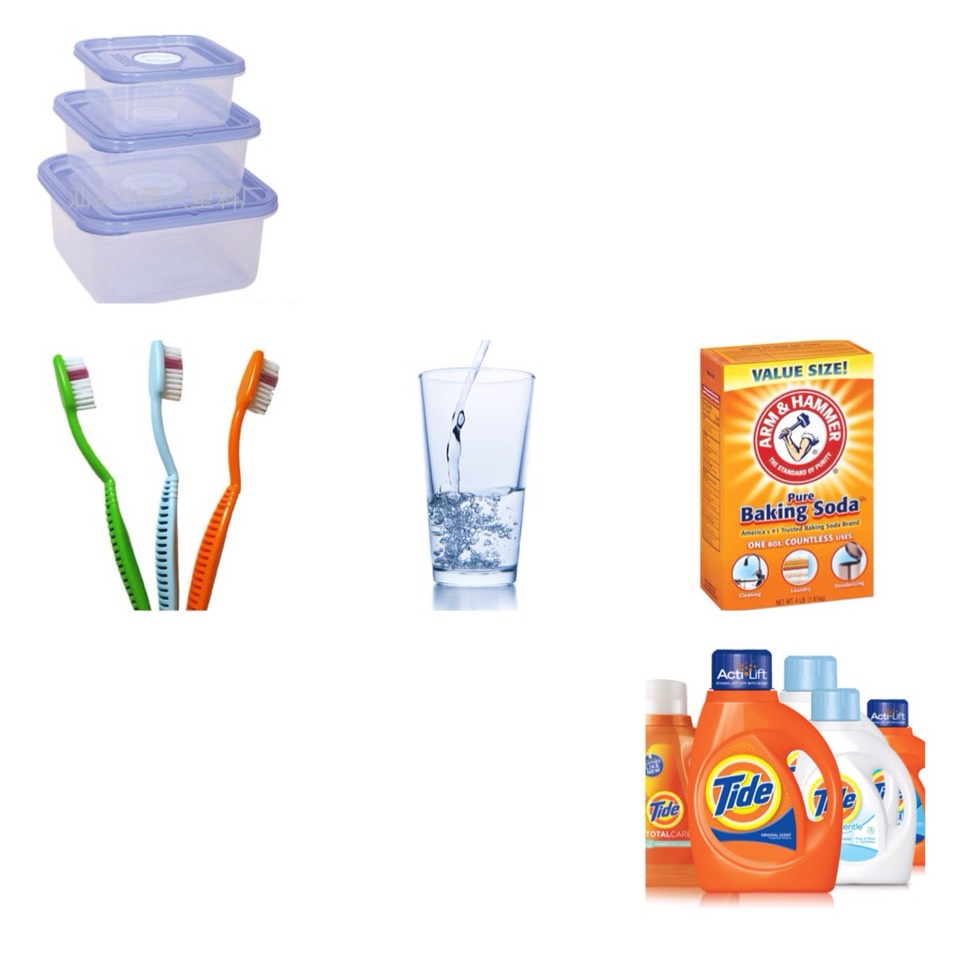 You will need: water, laundry soap (any brand), a tooth brush or any other condiment you can use to scrub, you will also need a bowl or container to put your mixture in, you can use baking soda but the soap and water worked just fine for me